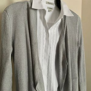 WHBM Silver Mixed Knit Waterfall Cardigan S